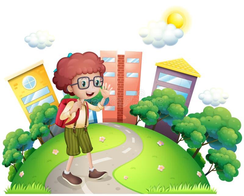 A schoolboy waving while walking at the road vector illustration