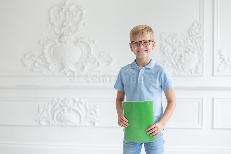 Schoolboy wearing jeans and blue t-shirt posing on background of white wall with green copybook in hands stock photo