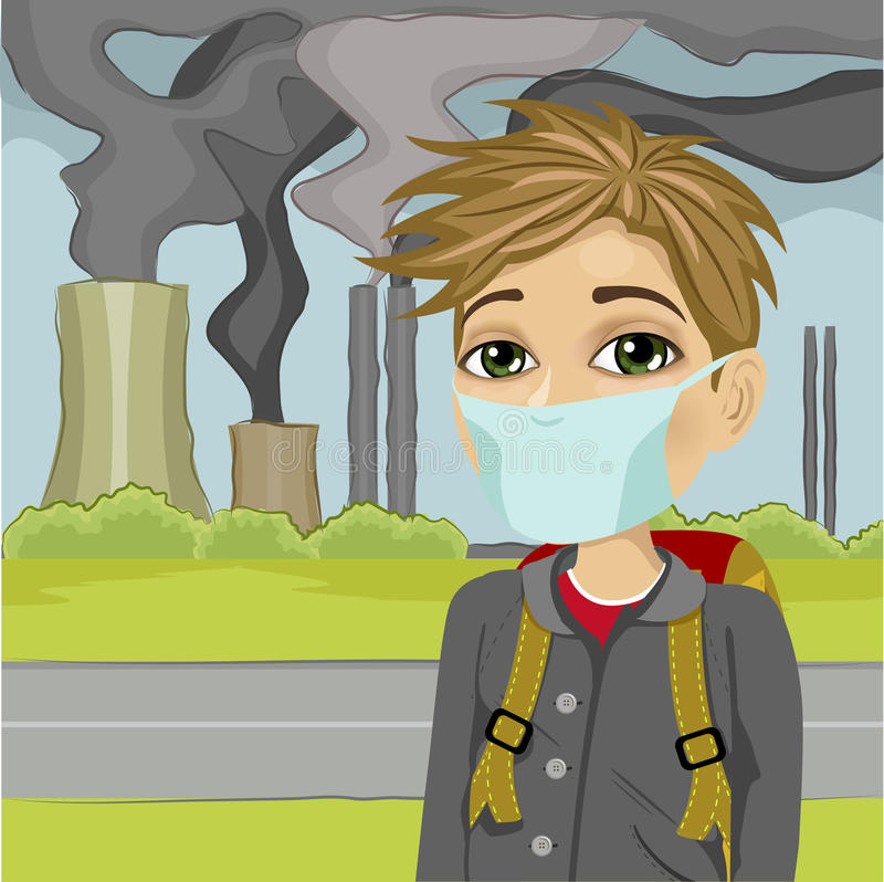 Schoolboy wearing protective mask against polluted city royalty free illustration