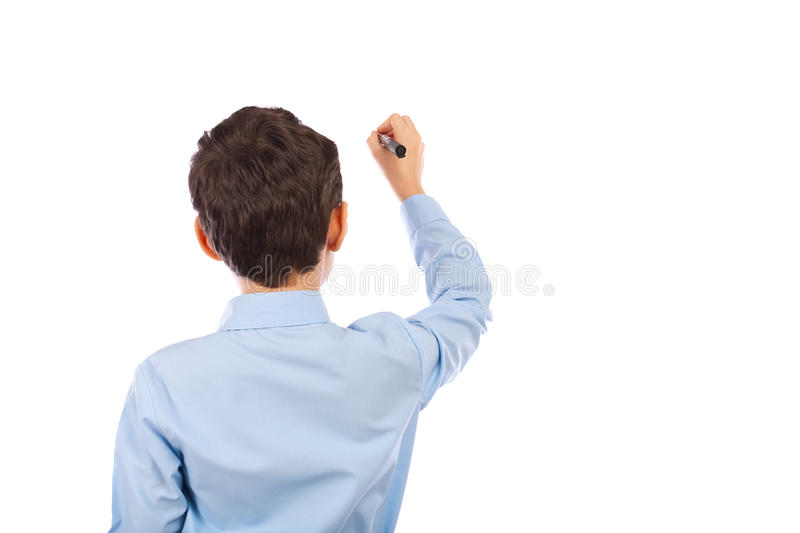 Download Schoolboy Writing On An Imaginary Board Stock Image - Image of person, child: 18102433