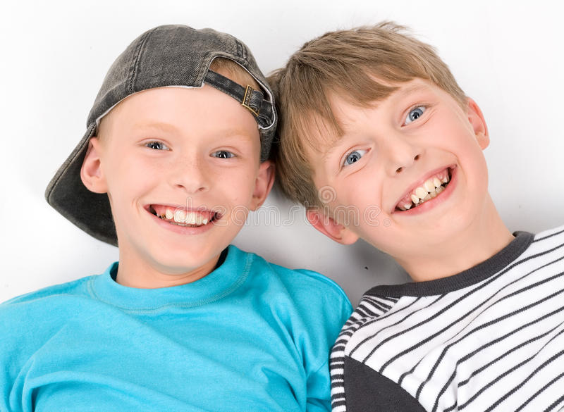 Schoolboys Best Of Friend On White Royalty Free Stock Image