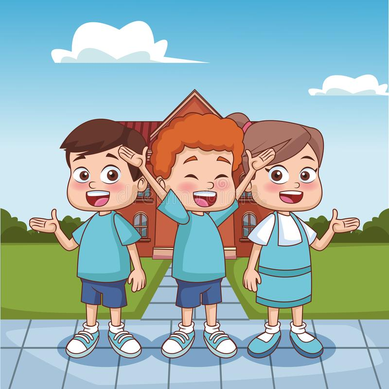Schoolboys outside school building. Vector illustration graphic design royalty free illustration