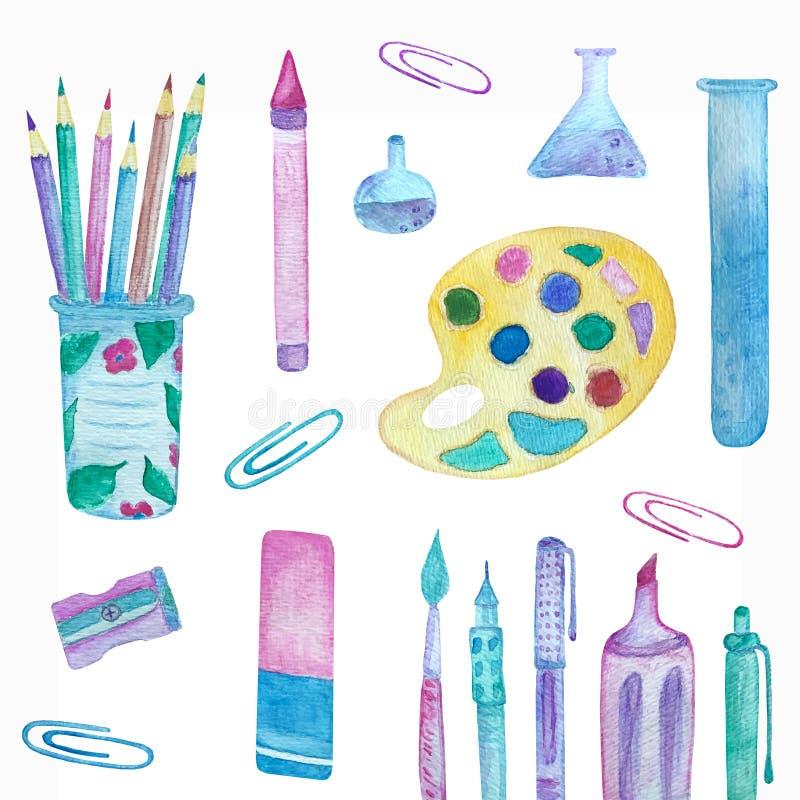 Schoolbureau: potloden, flessen, verven, paperclippen vector illustratie