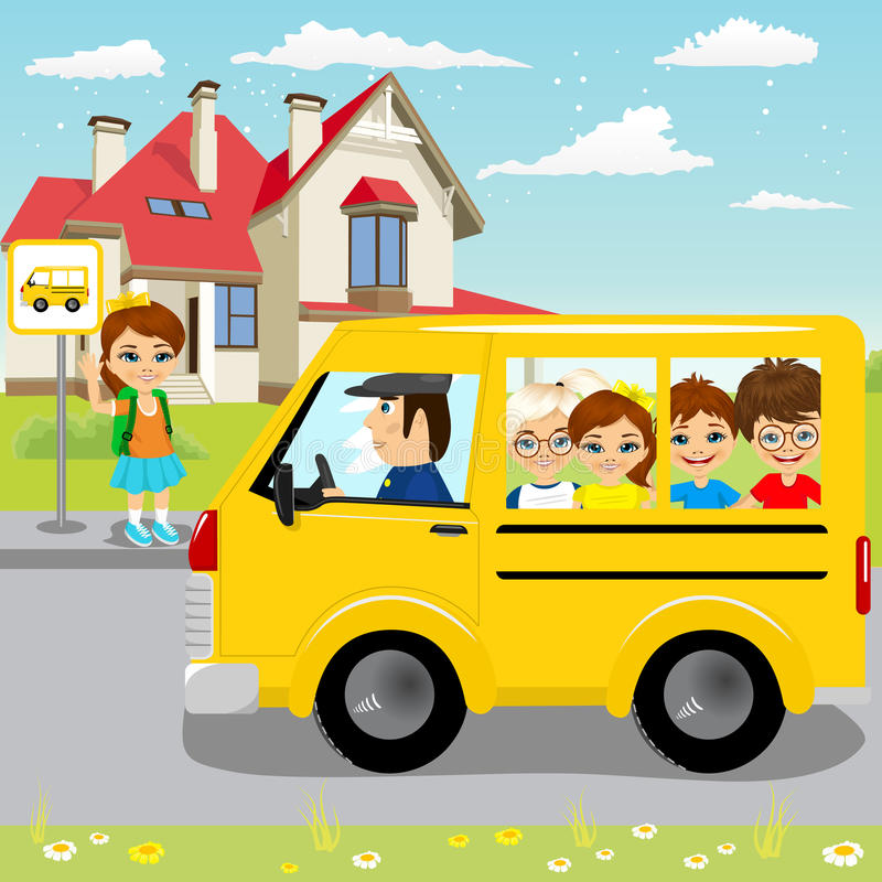 Schoolbus aspettante della bambina sulla fermata dell'autobus illustrazione di stock
