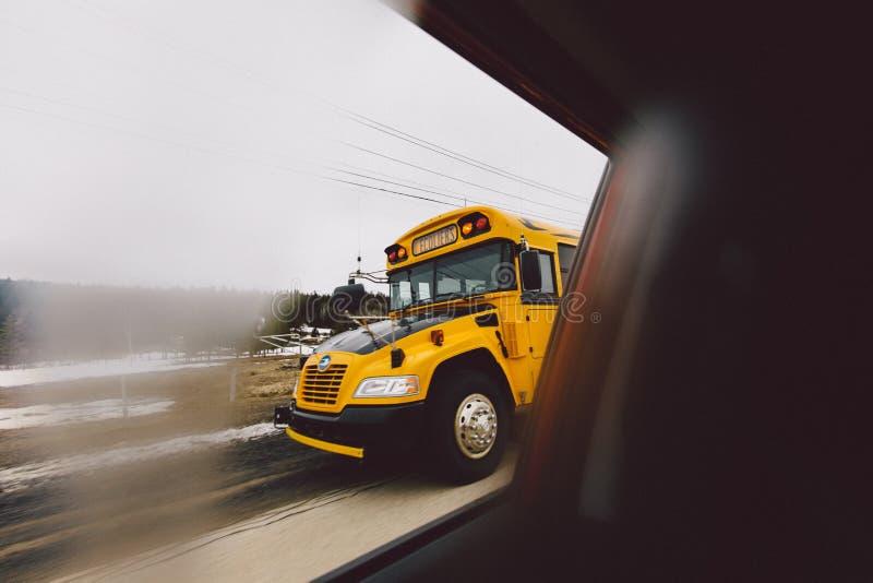 Schoolbus de Quebeque fotografia de stock royalty free