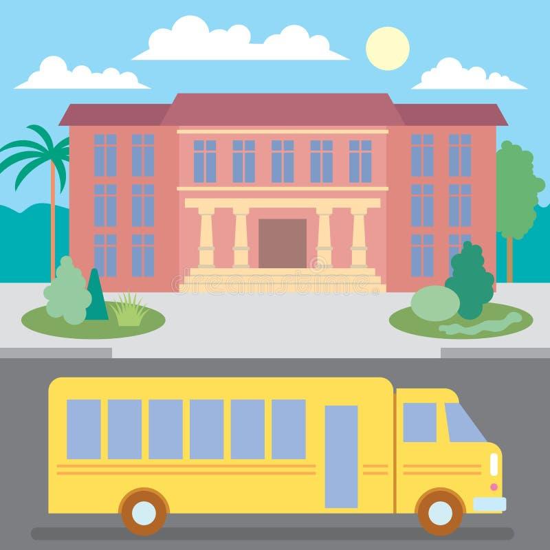 Schoolbus dichtbij de school royalty-vrije stock fotografie