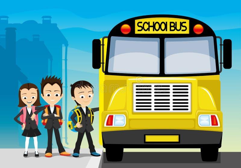 Schoolbus en schoolkinderen royalty-vrije illustratie