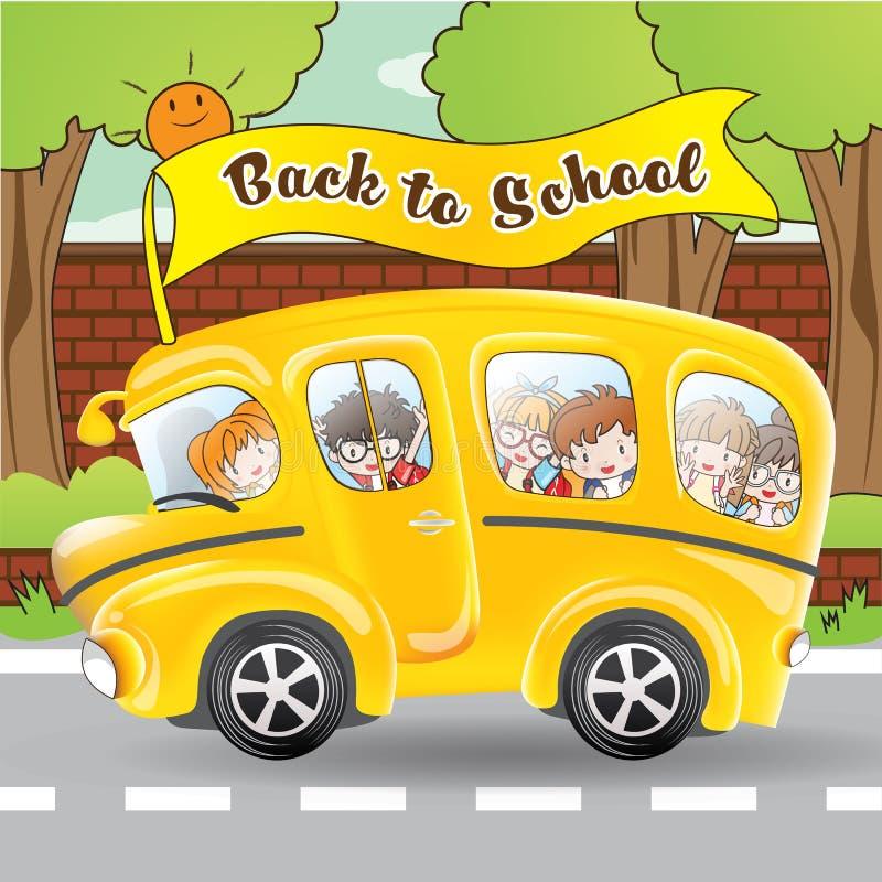 Schoolbus en student door beeldverhaalkarakter royalty-vrije stock afbeeldingen