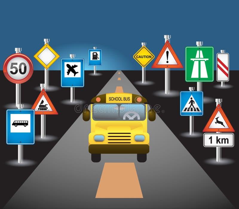 Schoolbus en tekens stock illustratie