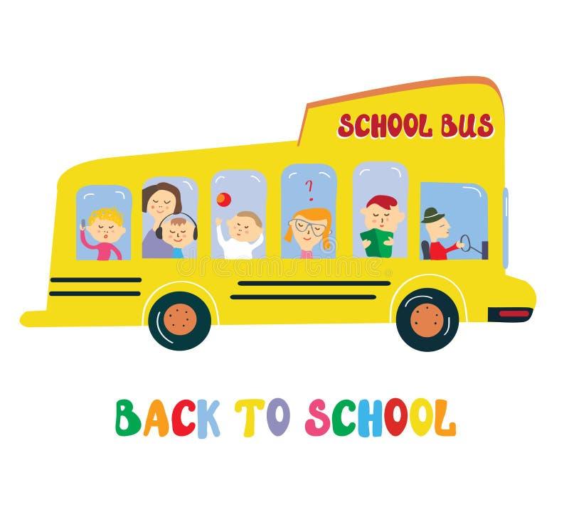 Schoolbus met jonge geitjesbeeldverhaal royalty-vrije illustratie
