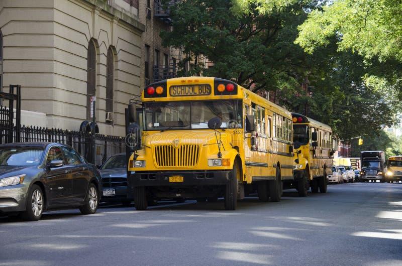 Schoolbus in New York, Manhattan royalty free stock photography