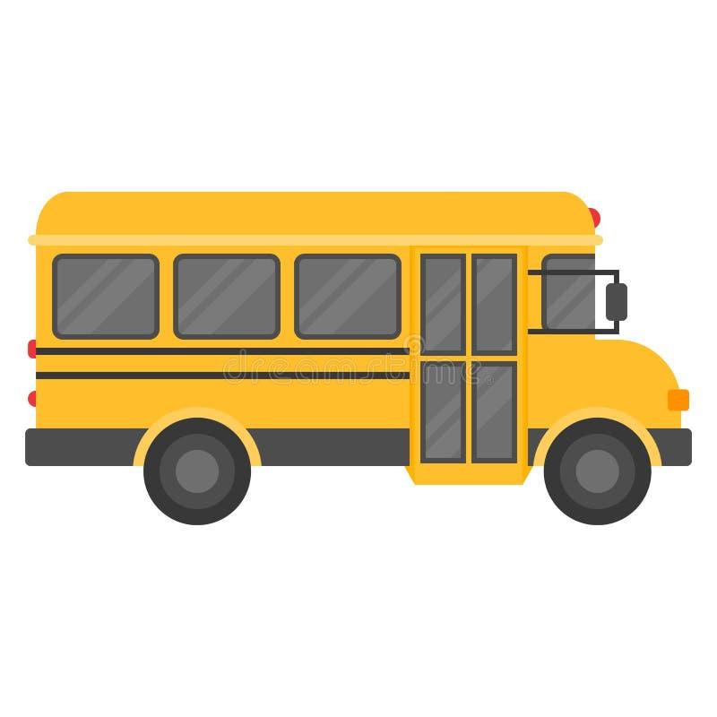 Schoolbus op witte achtergrond, vlak ontwerppictogram terug naar schoolconcept dat wordt geïsoleerd royalty-vrije illustratie