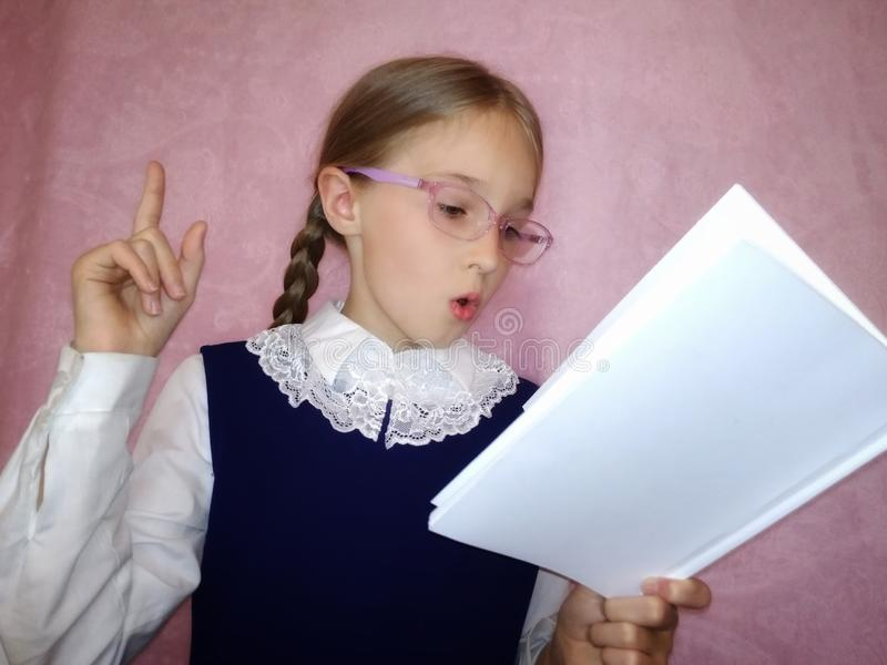 Schoolchild with a book stock photography