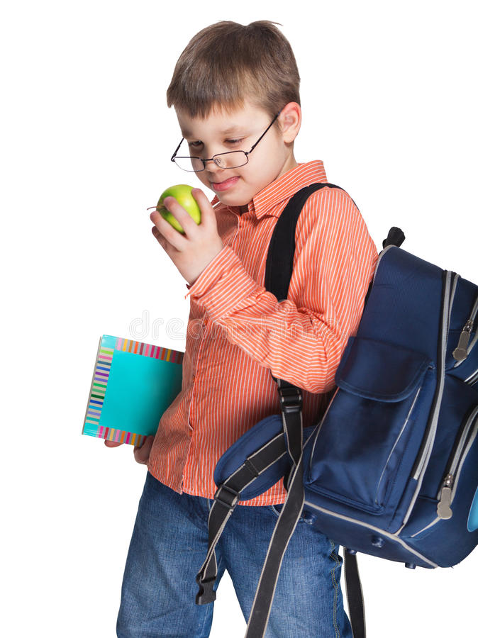 Download Schoolchild In Glasses With Apple Stock Image - Image: 25523307