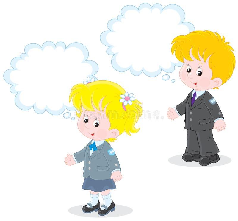 Schoolchildren answer in class royalty free illustration