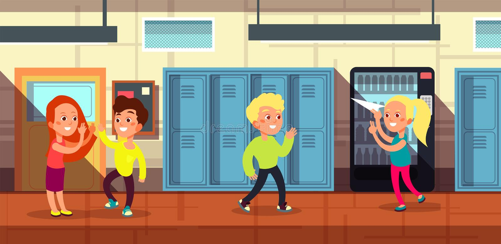 Schoolchildren in school corridor at classroom door cartoon vector illustration stock illustration