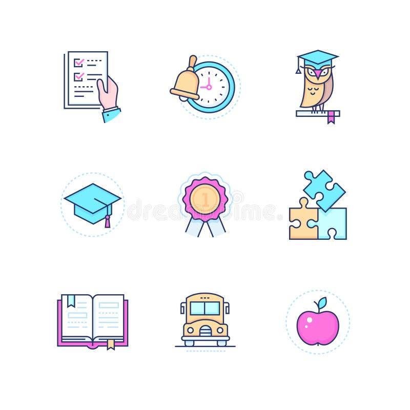 Schoolconcepten - moderne geplaatste de stijlpictogrammen van het lijnontwerp stock illustratie