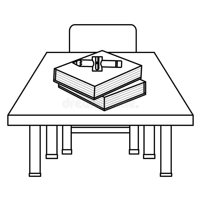 Schooldesk en bois et chaise avec des approvisionnements illustration libre de droits