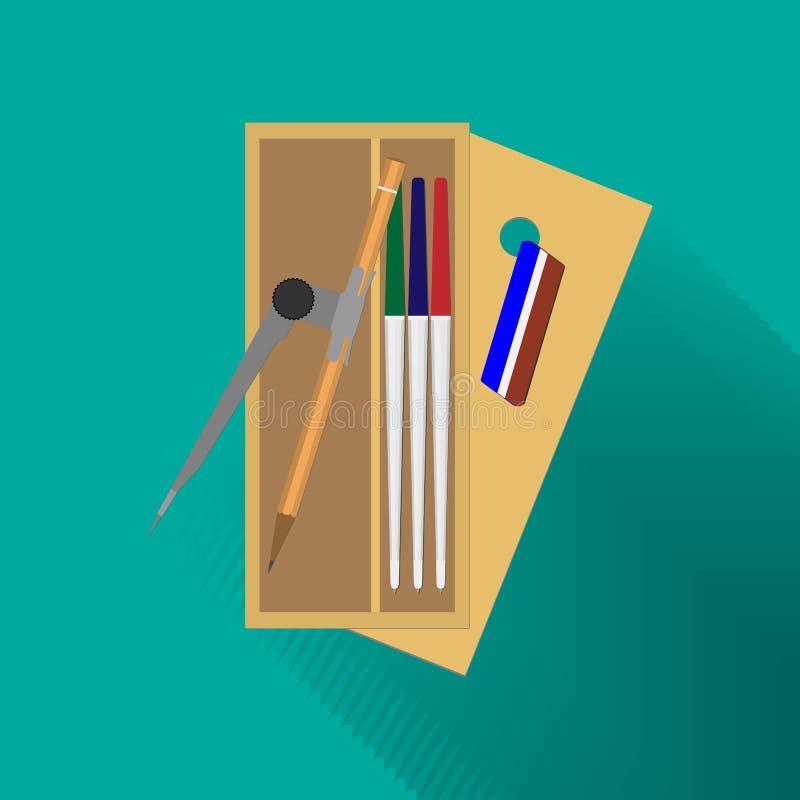 Schooldoos voor potloden en pennen stock illustratie