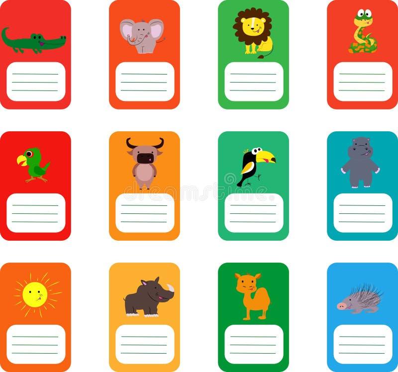 Schooletiketten met leuke dieren Krokodil, olifant, leeuw, slang en meer vector illustratie