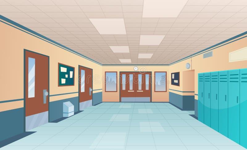 Schoolgang Helder universiteitsbinnenland van grote gang met deurenklaslokaal met bureaus zonder jonge geitjes vectorbeeldverhaal royalty-vrije illustratie
