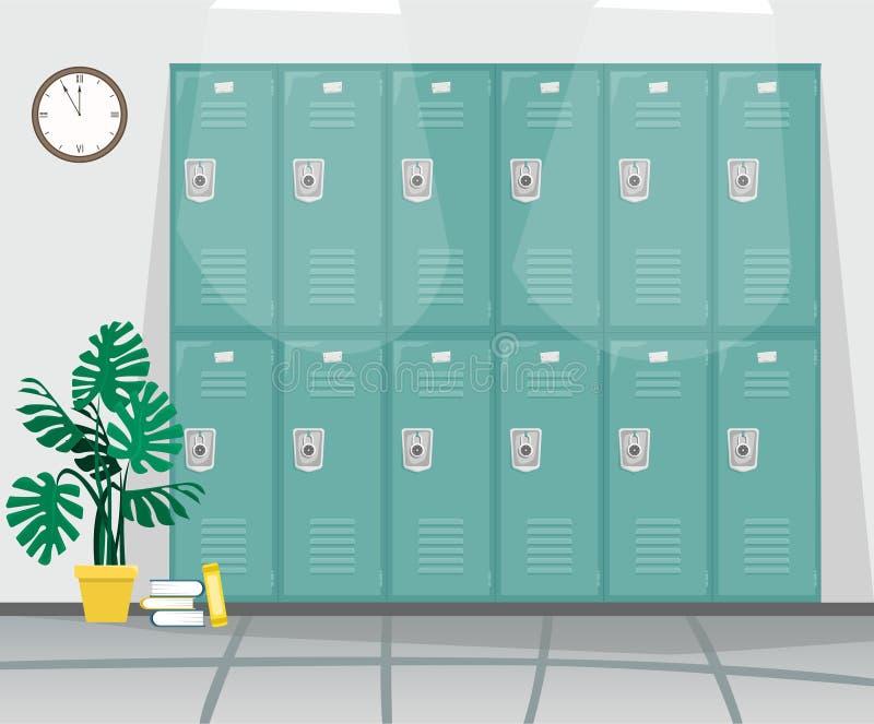 Schoolgang met kasten voor boeken en kleren royalty-vrije illustratie