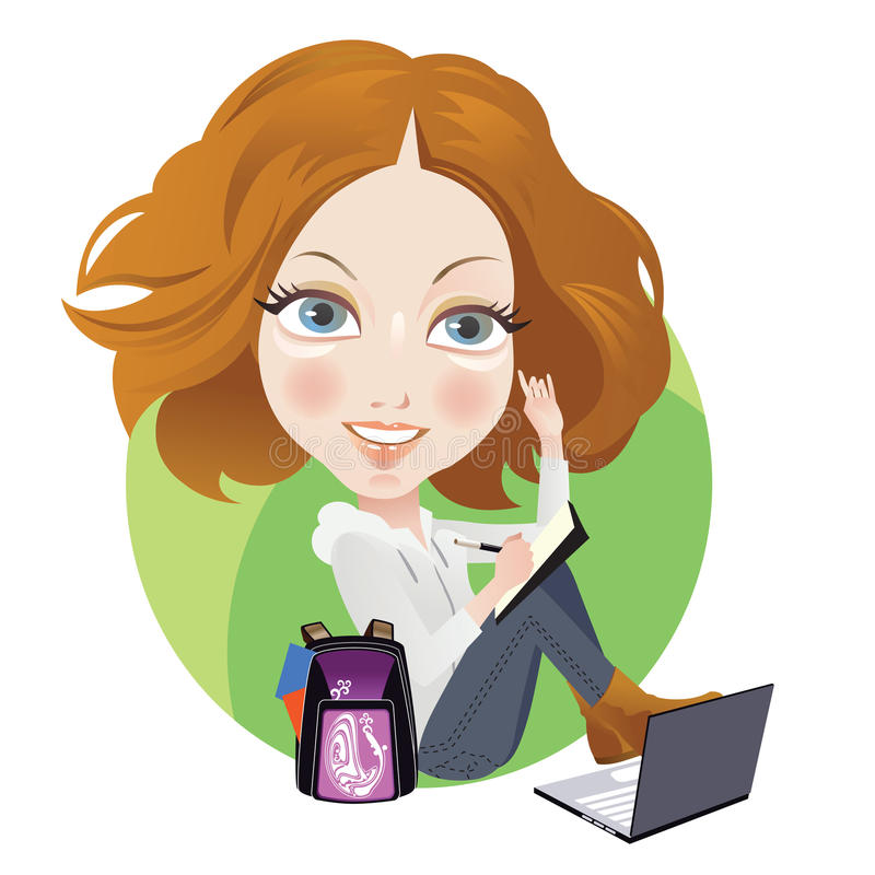 Schoolgirl. Writing and browsing with laptop royalty free illustration