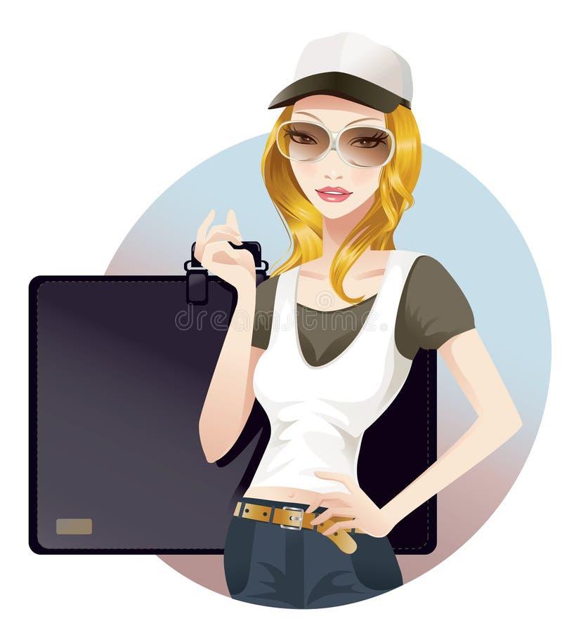 Schoolgirl. Young schoolgirl carrying her portfolio bag vector illustration