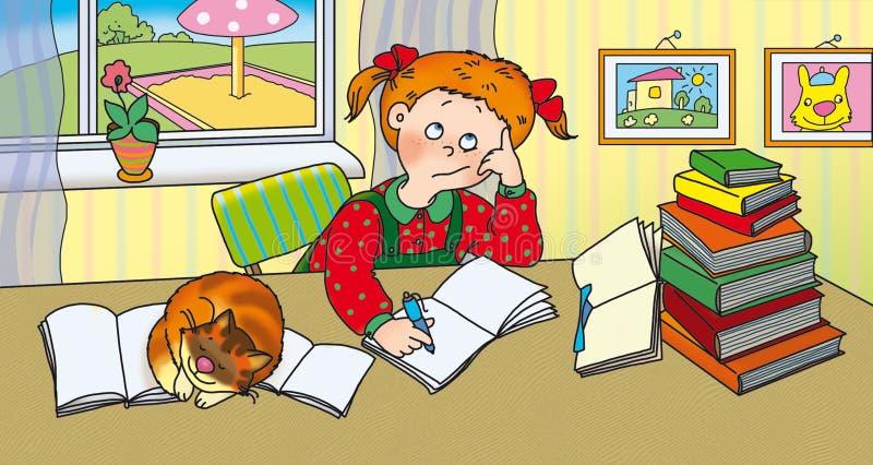 schoolgirl stock illustrationer
