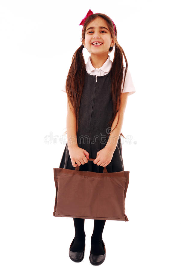 Download Schoolgirl with bag stock photo. Image of racial, first - 12385058