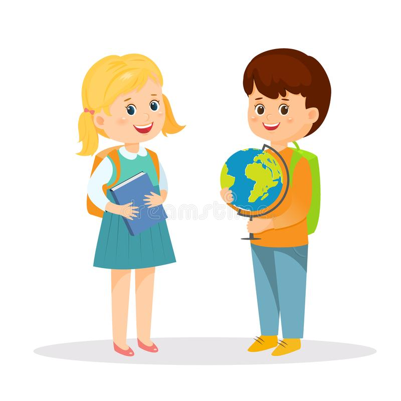 Schoolgirl with book and schoolboy with globe royalty free illustration