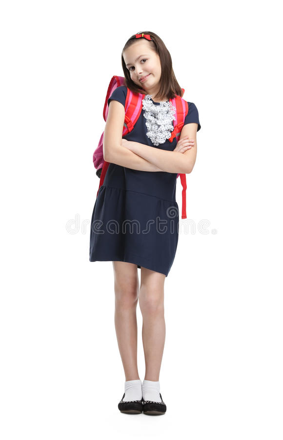 Download Schoolgirl With The Briefcase With Crossed Arms Stock Photo - Image: 26419102