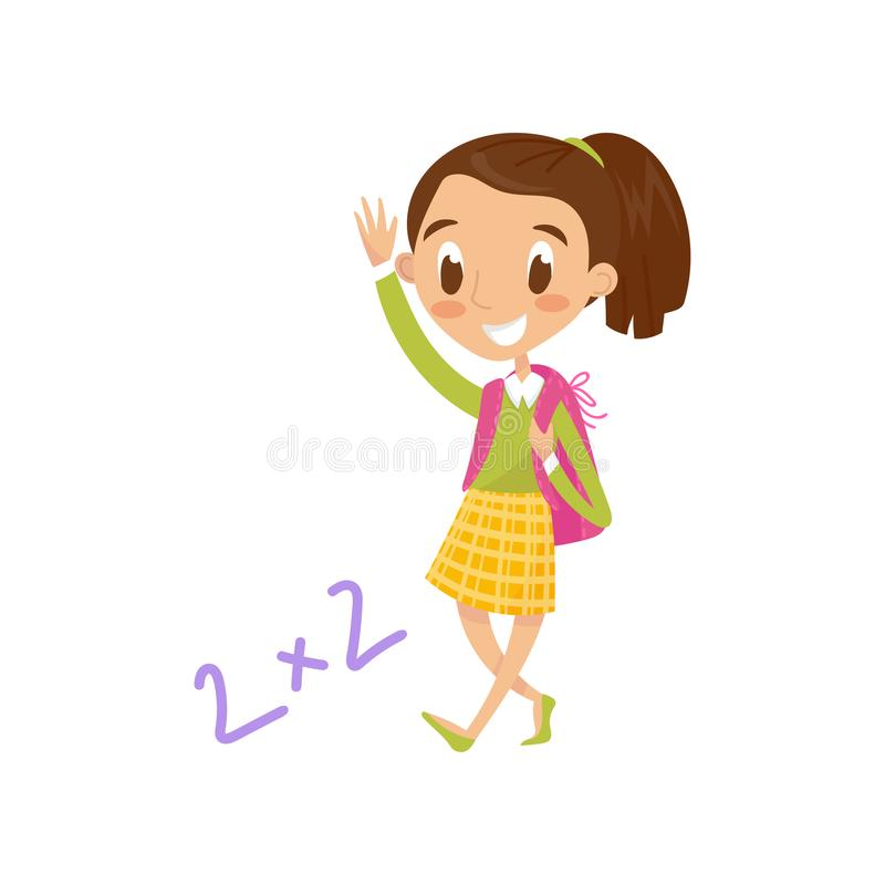 Schoolgirl carrying backpack and waving her hand, education and knowledge concept, colorful cartoon character vector. Illustration isolated on a white royalty free illustration