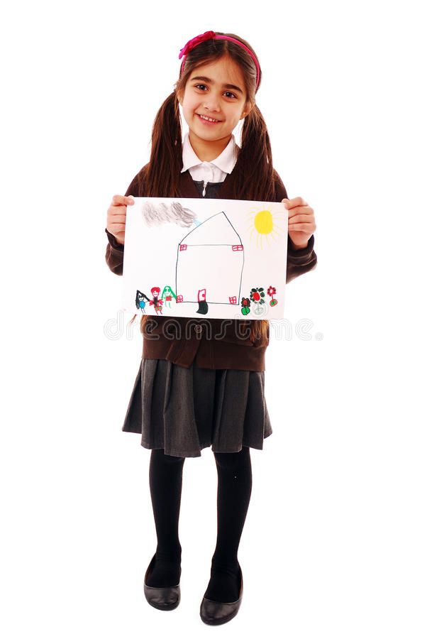 Schoolgirl with drawing royalty free stock images