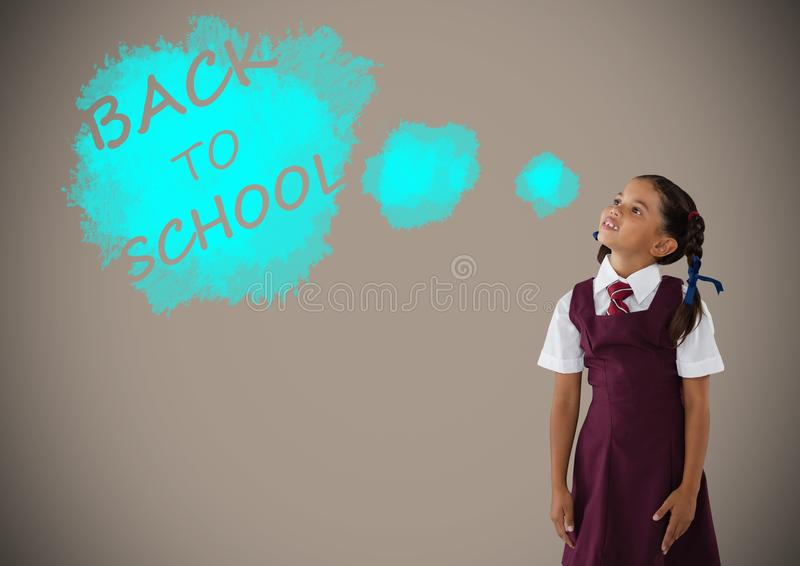 Schoolgirl dreaming of back to school text. Digital composite of Schoolgirl dreaming of back to school text stock illustration