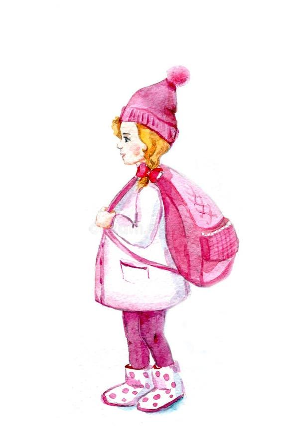 schoolgirl Ein kleines Mädchen mit einem großen rosa Rucksack watercolor stock abbildung