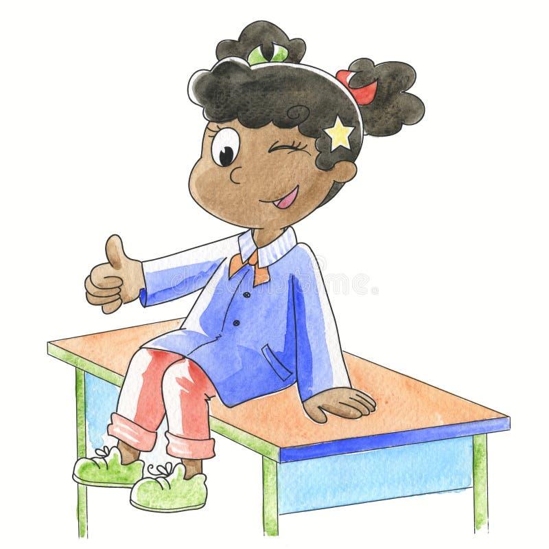 Ok! Schoolgirl with finger up. Smiling schoolgirl with finger up sitting on her desk. Hand made watercolor illustration stock illustration