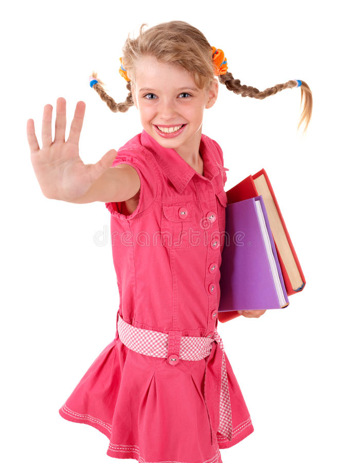 Download Schoolgirl  Holding Pile Of Books. Stock Photo - Image: 15425934