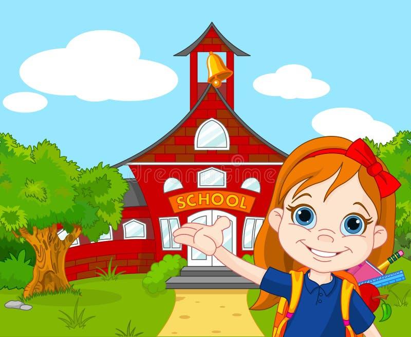 Schoolgirl. Illustration of schoolgirl goes to school royalty free illustration