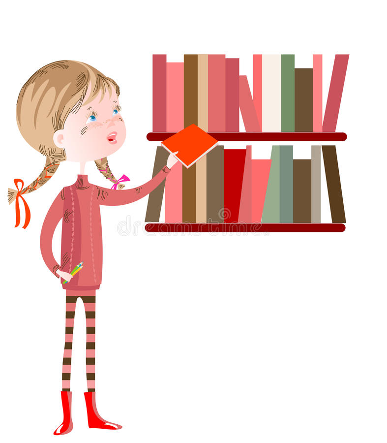 Schoolgirl in the library. The schoolgirl is in the library royalty free illustration
