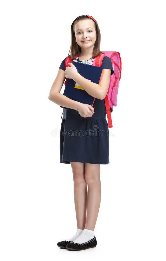 Schoolgirl med portföljen royaltyfri bild