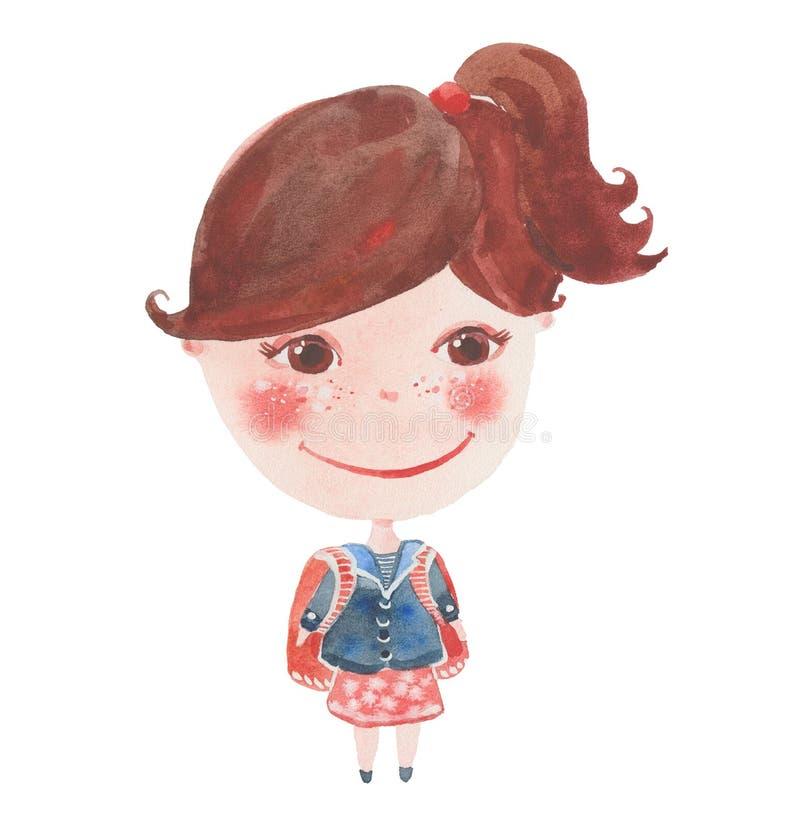 Schoolgirl med ryggsäck vektor illustrationer