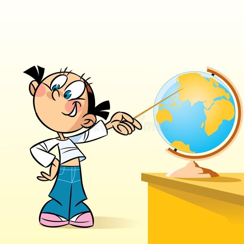 Schoolgirl near globe. The illustration shows the schoolgirl near the table. She points at the globe. Illustration done in cartoon style on separate layers stock illustration
