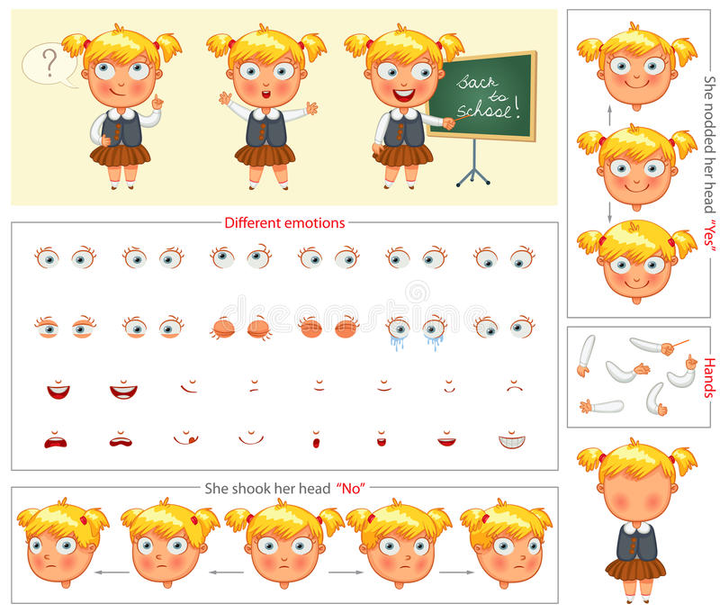 Schoolgirl. Parts of body template for design work and animation. Face and body elements. Funny cartoon character. She nodded her head yes. She shook her head stock illustration
