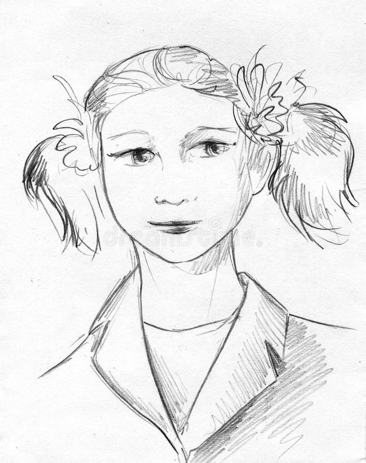 Schoolgirl pencil sketch. Hand drawn pencil sketch of a serious schoolgirl wearing ribbons in her hair - she has pigtails - and jacket stock illustration