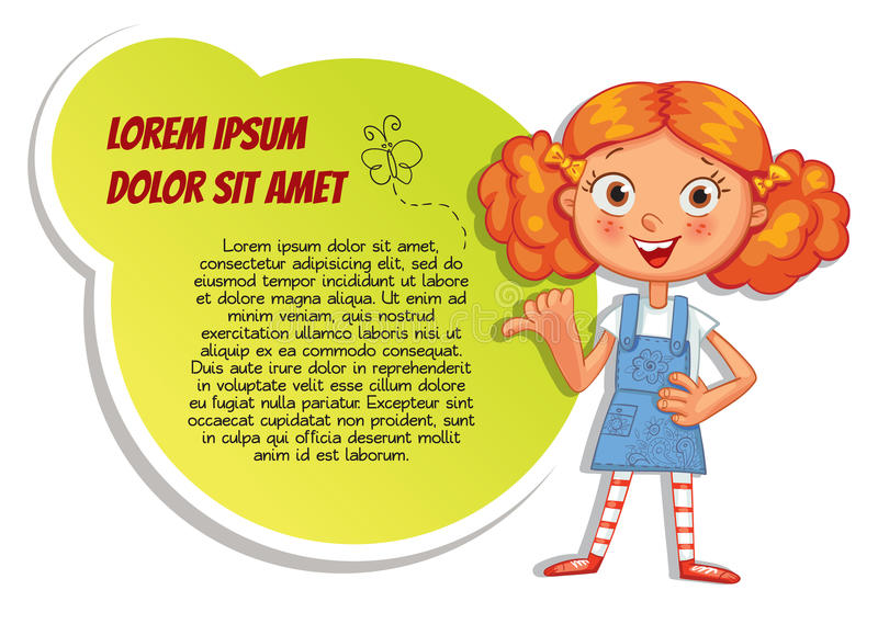 Schoolgirl pointing at a poster. Ready for your message. Colorful template for advertising brochure with a cute happy girl. Funny cartoon character. Vector royalty free illustration