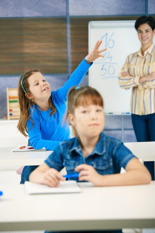 Download Schoolgirl With Raised Hand Stock Image - Image: 13227007