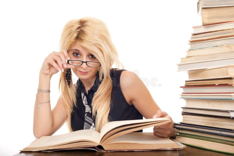 Download Schoolgirl reading book stock image. Image of girl, glance - 18048167