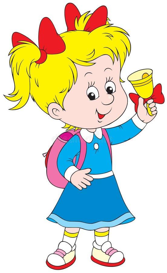Schoolgirl rings the bell. The smiling schoolgirl rings the bell to the beginning of the school year vector illustration