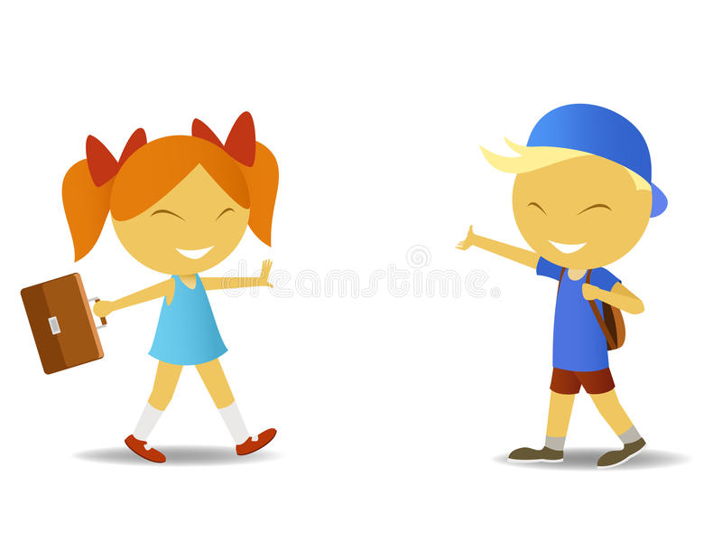 Schoolgirl and schoolboy. Vector illustration of cartoon schoolboy with bag and schoolgirl schoolbag. Meshes used royalty free illustration